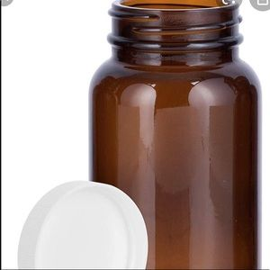 Other - 2 new glass amber jars with white lid APOTHECARY
